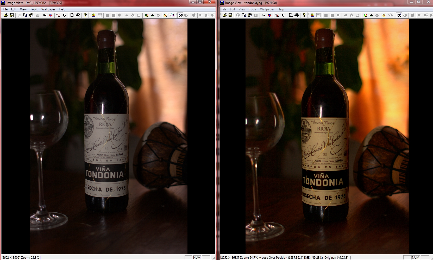 Canon Raw image (left: original, right: result) processed using rotation, crop, saturation, whitebalance, and selective contrast enhancement with the retouching tool.